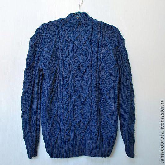 Кофты и свитера ручной работы. Ярмарка Мастеров - ручная работа. Купить Мужской свитер по мотивам.... Handmade. Тёмно-синий, свитер