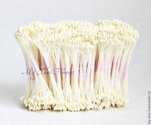 Тычинки. Кремовые каплевидные на желтой нити My Thai. материалы для флористики из Таиланда