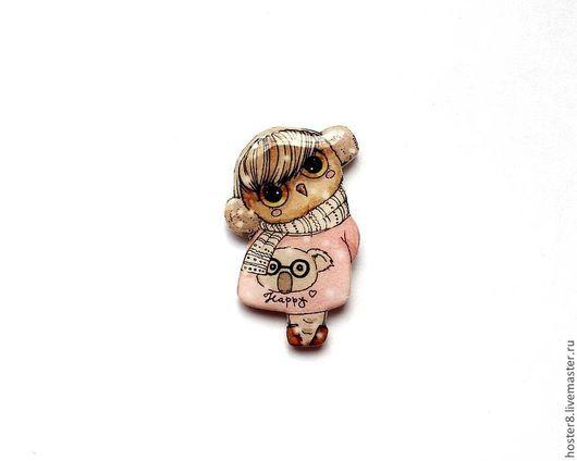 """Броши ручной работы. Ярмарка Мастеров - ручная работа. Купить Брошь """"Совушка Happy"""" (0092). Handmade. Бледно-розовый, брошка"""