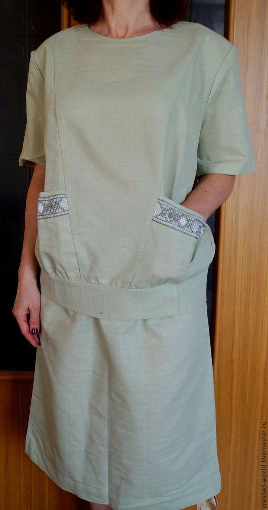 Одежда. Ярмарка Мастеров - ручная работа. Купить Костюм с вышивкой,  46 размер. Handmade. Мятный, для лета, хлопок