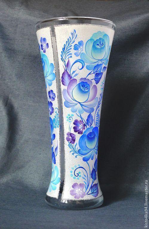 Ваза стеклянная с росписью гжельские мотивы подарок на Новый год свадьбу молодоженам на день рождения подарок маме бабушке украшение интерьера ваза с росписью гжель для цветов