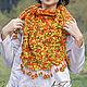 Knitted shawl scarf for women gift fishnet Orange Autumn. Shawls. Azhurles. My Livemaster. Фото №6