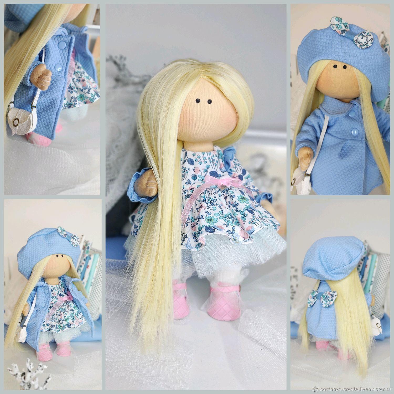 Кукла с гардеробом 28 см Текстильная кукла в подарок Одежда для куклы, Интерьерная кукла, Шахты,  Фото №1