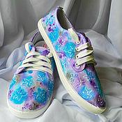 """Обувь ручной работы. Ярмарка Мастеров - ручная работа Кеды женские с рисунком на заказ """"Нежность"""". Handmade."""