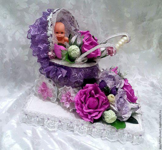 Букеты ручной работы. Ярмарка Мастеров - ручная работа. Купить Конфетный подарок  для новорожденного. Handmade. Комбинированный, сувениры ручной работы