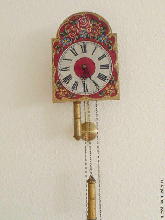 Винтажные предметы интерьера. Ярмарка Мастеров - ручная работа. Купить Настенные шварцвальские часы ходики с гирями, винтаж. Handmade. Разноцветный
