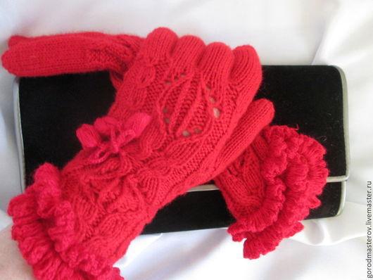 Варежки, митенки, перчатки ручной работы. Ярмарка Мастеров - ручная работа. Купить перчатки Огонек. Handmade. Ярко-красный