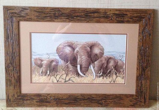 Животные ручной работы. Ярмарка Мастеров - ручная работа. Купить Картина Африканские слоны. Handmade. Комбинированный, африка, африканский стиль