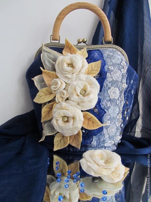 """Женские сумки ручной работы. Ярмарка Мастеров - ручная работа. Купить """" Мой каприз"""". Handmade. Тёмно-синий"""