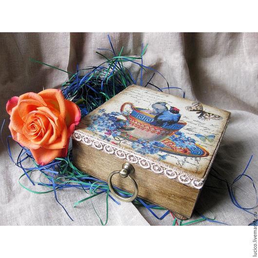 """Шкатулки ручной работы. Ярмарка Мастеров - ручная работа. Купить Шкатулка """"Птички в незабудках"""". Handmade. Голубой, подарок девушке, кантри"""