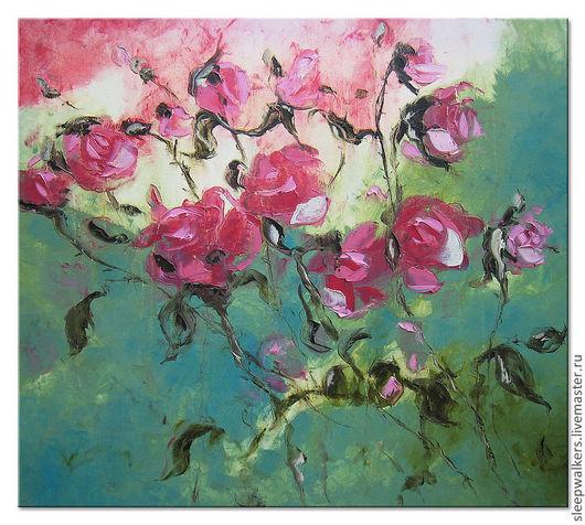"""Картины цветов ручной работы. Ярмарка Мастеров - ручная работа. Купить """"The Purple Rose of Cairo"""" 80х90 большая картина маслом мастихином. Handmade."""