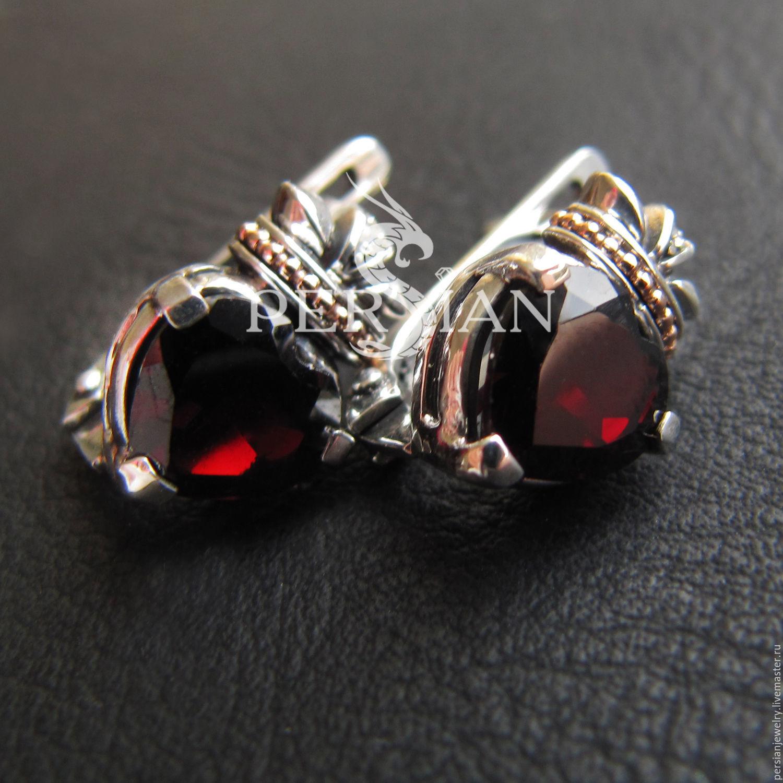 Silver Claddagh earrings with garnets, Earrings, Sevastopol,  Фото №1