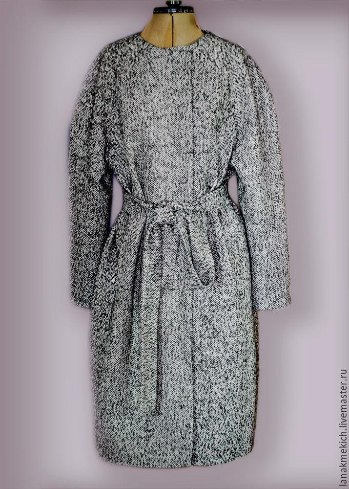Cocoon coat with belt 'Herringbone', Coats, Moscow,  Фото №1