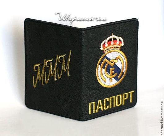 Вышитая обложка на паспорт ``Футбольный клуб Реал Мадрид` (Real Madrid Club de Fútbol) .  Полезные вещицы от Шармель-ки.