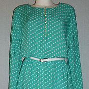 Одежда ручной работы. Ярмарка Мастеров - ручная работа Платье из штапеля в горошек,  размер 48-50. Handmade.