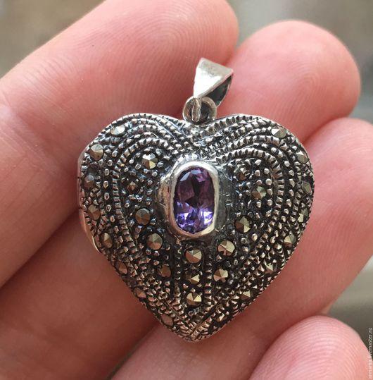 Для украшений ручной работы. Ярмарка Мастеров - ручная работа. Купить Медальон Винтажное сердце с аметистом и марказитами серебро 925. Handmade.