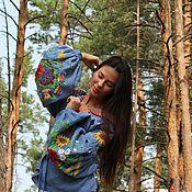 Одежда ручной работы. Ярмарка Мастеров - ручная работа Блуза с вышивкой, ручная работа 030802. Handmade.