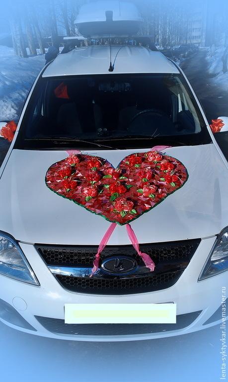Свадебные аксессуары ручной работы. Ярмарка Мастеров - ручная работа. Купить Сердце из роз на капот машины.. Handmade. Разноцветный