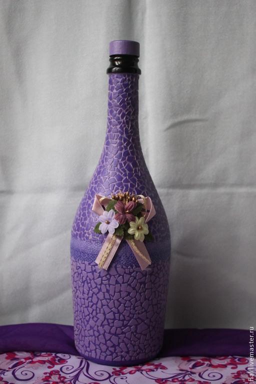 """Декоративная посуда ручной работы. Ярмарка Мастеров - ручная работа. Купить """"Виолетта"""" бутылка. Handmade. Сиреневый, подарок на новый год"""