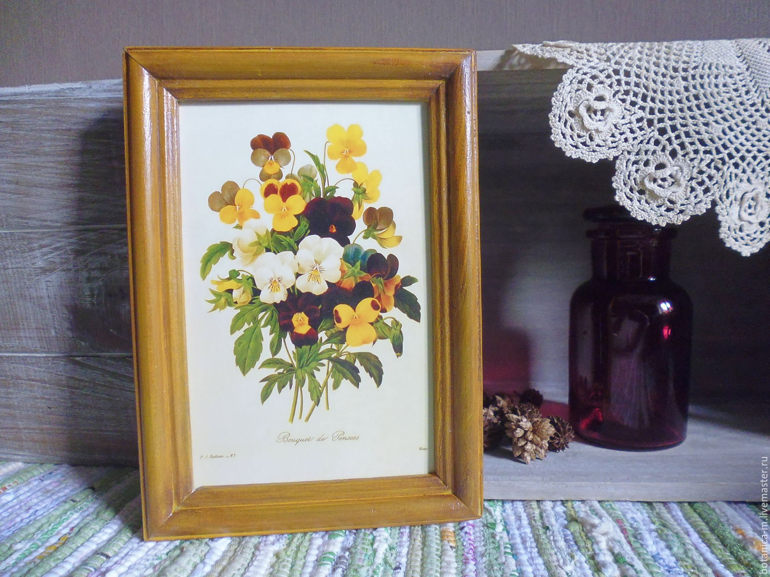 'Botany. Pansy'. Panels in vintage style, Pictures, St. Petersburg,  Фото №1