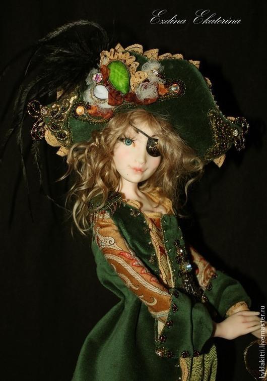 Коллекционные куклы ручной работы. Ярмарка Мастеров - ручная работа. Купить Пиратка. Handmade. Тёмно-зелёный, роспись акрилом