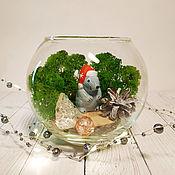 Флорариумы ручной работы. Ярмарка Мастеров - ручная работа Новогодний стеклянный шар со мхом и крыской. Handmade.