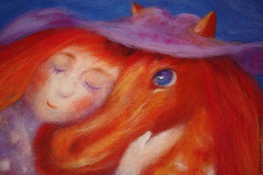 """Люди, ручной работы. Ярмарка Мастеров - ручная работа. Купить Картина из шерсти """"Я люблю рыжую лошадку"""" (репродукция). Handmade."""