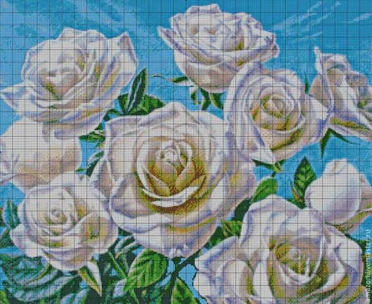 """Вышивка ручной работы. Ярмарка Мастеров - ручная работа. Купить Набор для вышивания бисером """"Белые розы"""". Handmade. Авторская работа"""