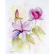 Картины и панно handmade. Livemaster - original item Painting flowers watercolor Delicate Magnolia. Handmade.