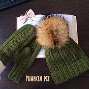 Аксессуары handmade. Livemaster - original item Set of hat and mittens