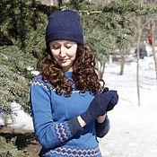 Аксессуары handmade. Livemaster - original item Sets of headgear: Mohair beanie hat and mittens, dark blue. Handmade.