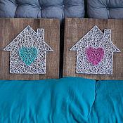 """Картины и панно ручной работы. Ярмарка Мастеров - ручная работа """"Дом с сердцем"""" в технике String Art. Handmade."""