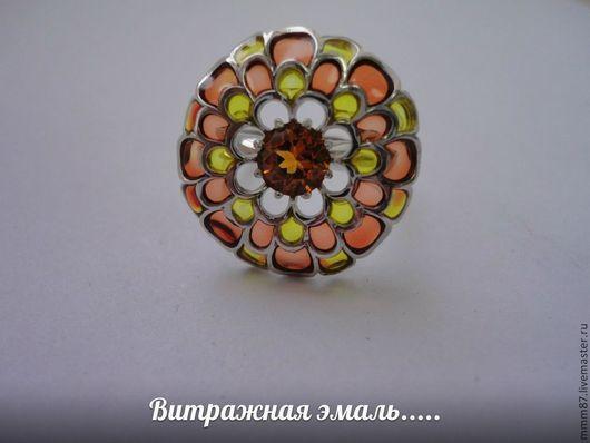 """Кольца ручной работы. Ярмарка Мастеров - ручная работа. Купить Серебряное кольцо с эмалью """"Хризантема"""". Handmade. Эмаль, Кольцо женское"""