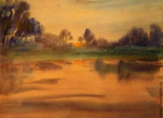 Акварель `Теплое` картина пейзаж
