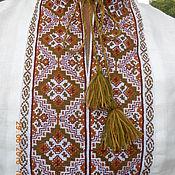 Одежда ручной работы. Ярмарка Мастеров - ручная работа Вышиванка льняная  славянская бежевая. Handmade.