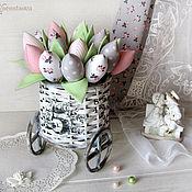 Цветы и флористика ручной работы. Ярмарка Мастеров - ручная работа Серо-розовые тюльпаны в кашпо. Handmade.