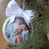 Подарки к праздникам ручной работы. Ярмарка Мастеров - ручная работа Ёлочный шар с фото... Handmade.