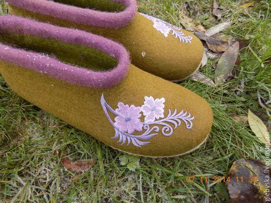 """Обувь ручной работы. Ярмарка Мастеров - ручная работа. Купить Тапочки """"На каждый день"""". Handmade. Оливковый, 100% шерсть"""