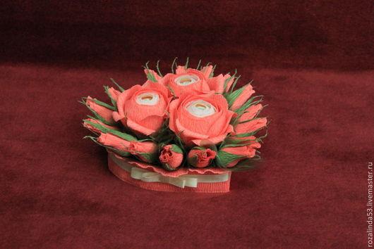 Букеты ручной работы. Ярмарка Мастеров - ручная работа. Купить Сердце  коралловое. Handmade. Шоколадные конфеты, сердце, коралловый