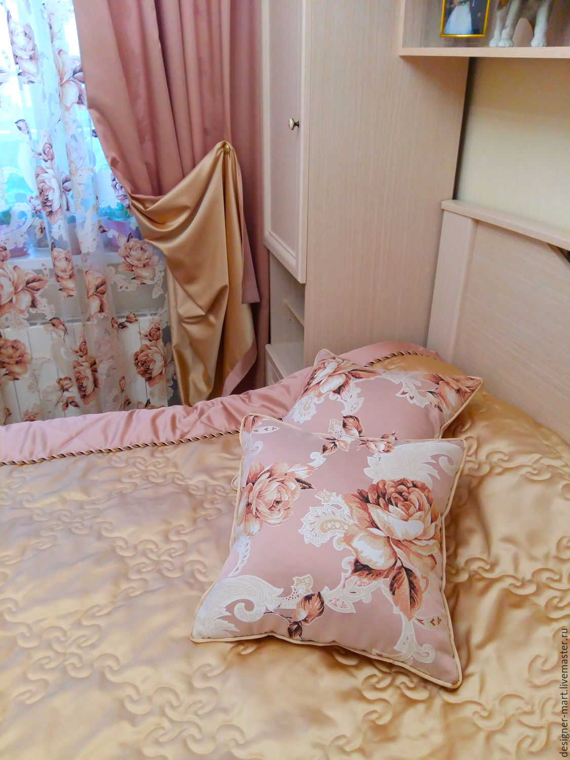 Curtains for bedroom from bilateral satin and tulle with flowers, Curtains1, Moscow, Фото №1