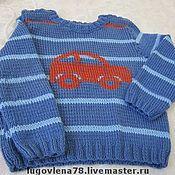 Работы для детей, ручной работы. Ярмарка Мастеров - ручная работа Полушерстяной пуловер с машинкой для мальчика. Handmade.