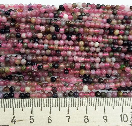 Для украшений ручной работы. Ярмарка Мастеров - ручная работа. Купить Турмалин натуральный, гладкий шар - нить. Handmade.