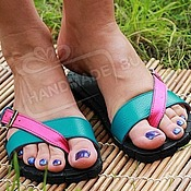 Обувь ручной работы handmade. Livemaster - original item sandals mood leather turquoise pink. Handmade.