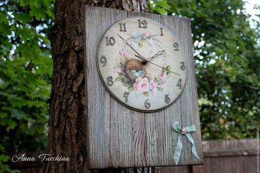 """Часы для дома ручной работы. Ярмарка Мастеров - ручная работа. Купить Часы """"Нежно любимые"""". Handmade. Серый, часы декупаж"""