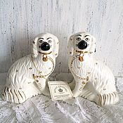 Винтаж ручной работы. Ярмарка Мастеров - ручная работа Викторианские фарфоровые шебби каминные собачки. Handmade.