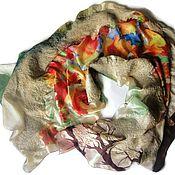 Аксессуары handmade. Livemaster - original item Batik Tippet felted Melody of autumn (reserve). Handmade.