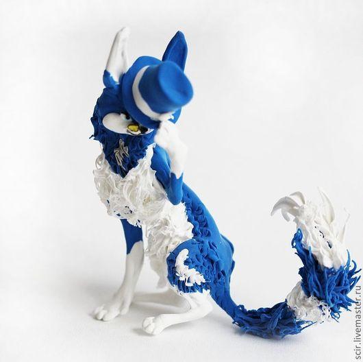 """Аниме ручной работы. Ярмарка Мастеров - ручная работа. Купить фигурка """"Кот - джентльмен в синем цилиндре"""" :). Handmade. Синий"""