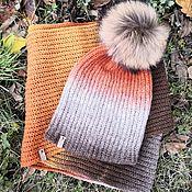 handmade. Livemaster - original item Set Halloween (LIC in 2 turns hat with pompom). Handmade.