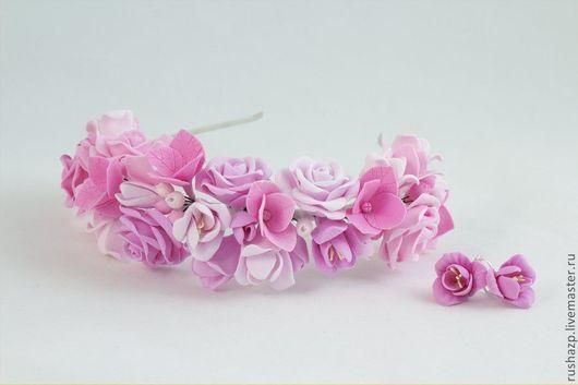 """Свадебные украшения ручной работы. Ярмарка Мастеров - ручная работа. Купить Ободок для волос """"Принцесса"""" - цветы из полимерной глины. Handmade."""