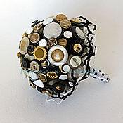 Свадебные букеты ручной работы. Ярмарка Мастеров - ручная работа Букет из пуговиц Черно-бело-золотой. Handmade.